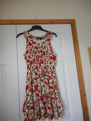 £10 • Buy Bright Pussycat London Red Pink Floral Flower Dress Top Size M 12 14 Worn Once
