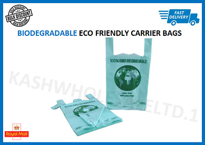 100 X Large Biodegradable Plastic Carrier Bags Eco OXO Shop - 11  X 17  X 21  • 4.49£