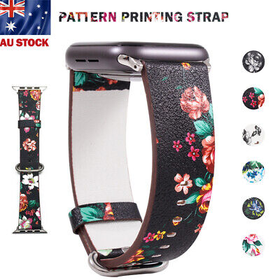 AU11.99 • Buy For Apple Watch Band Floral Leather IWatch Strap Wristbands Series 5 4 3 2 Band