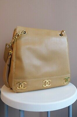 AU1200 • Buy Vintage Chanel 6 CC Mark Plate Ball Charm Tote Bag In Tan Caviar Leather