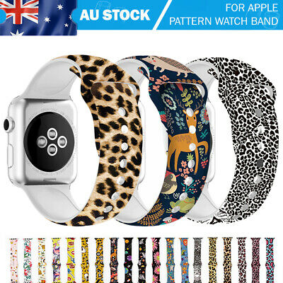 AU11.99 • Buy For Apple Watch Band Silicone Pattern Printed IWatch Series 5 4 3 2 Strap