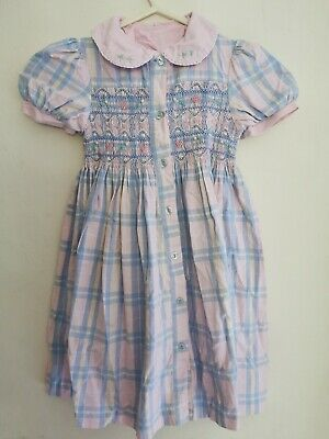 Vintage Romany Girls Dress Summer Smocked Age 3-4 Years Pink Retro Checked  • 8£