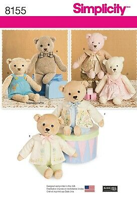 8155 STUFFED BEARS WITH CLOTHES Sewing Pattern SIMPLICITY 21.5   55cms • 8.75£