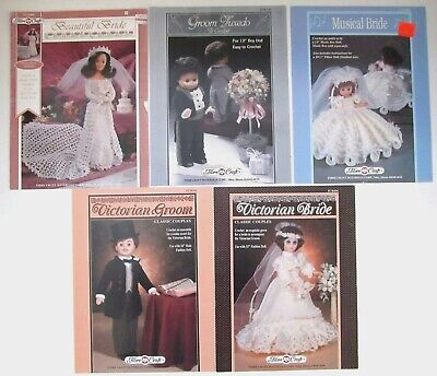 Victorian Wedding Dress Crochet Doll Clothing Patterns Lot Bride And Groom Plus • 18.97£