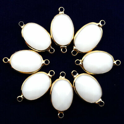 $ CDN25.49 • Buy 10 Pcs Wrapped Faceted White Jade Oval Connector Pendant Bead 18x13x6mm A-78BBS