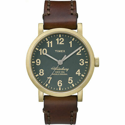 $45 • Buy Timex TW2P58900, Men's Waterbury Brown Leather Watch, Indiglo, 40MM Case