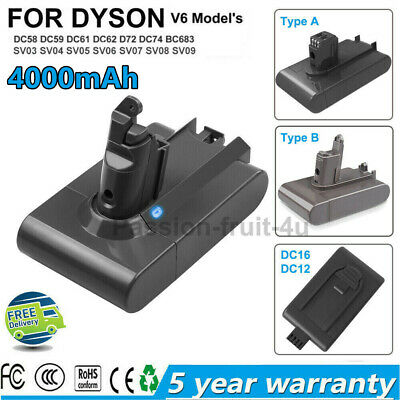 AU30.95 • Buy Replace Battery For Dyson V6 DC58 DC62 SV03 DC12 DC16 DC44 DC34 DC35 (Type A/B)