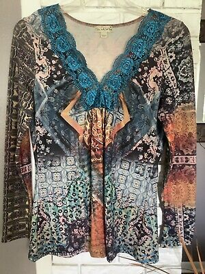 $0.99 • Buy LIVE AND LET LIVE Ladies Multi-colored Tunic With Lace Neckline SIze M EUC