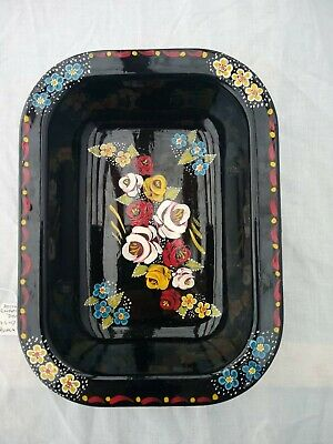 £10 • Buy Black Roses And Castles Hand Painted Rectangle Enamel Dish Barge Ware #01