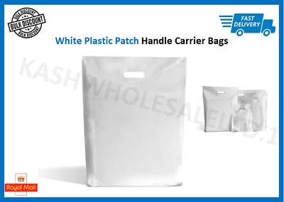 White Plastic Carrier Bags Patch Handle Gift Shopping Strong Plastic  S-M-L-XL • 3.75£