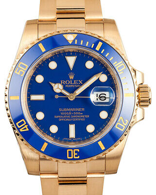 $ CDN44508.98 • Buy Rolex Submariner NEW 18k Yellow Gold Blue Ceramic 40mm Watch Box/Papers 116618