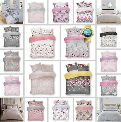 Grey Pink Printed Duvet Set Quilt Cover Reversible Bedding Single Double King • 13.99£
