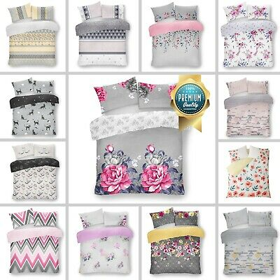 Printed Duvet Set Quilt Cover Reversible Bedding Multi Grey Single Double King • 13.99£