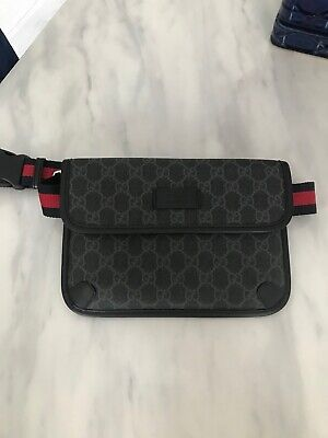 $ CDN241.76 • Buy Gucci Belt Bag Black / Grey GG Supreme Fanny Pack
