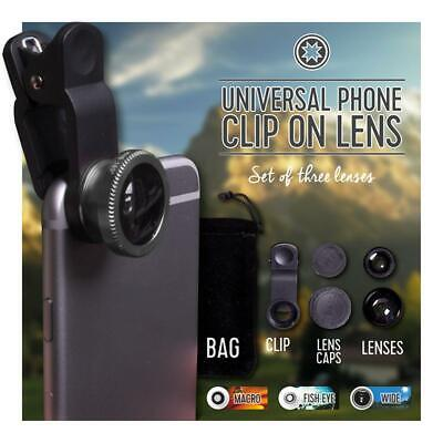 £6.99 • Buy Clip On Lens Kit Macro Wide Angle Fish Eye For IPhone Samsung Smartphone Mobile