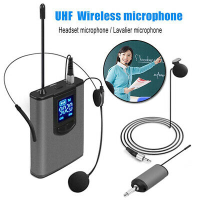 LCD UHF Wireless Headset Microphone Mic /Lavalier Lapel Mics Bodypack Microphone • 22£
