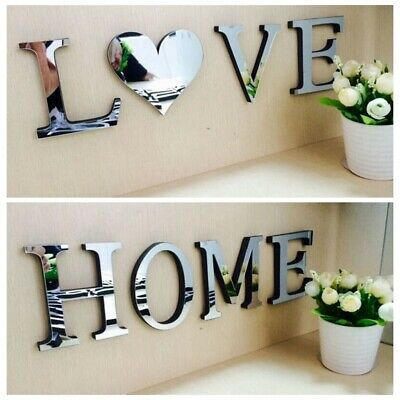 4 Letters Love Home Mirrors Wall Stickers Self-Adhesive Art Decals Wedding Decor • 3.99£