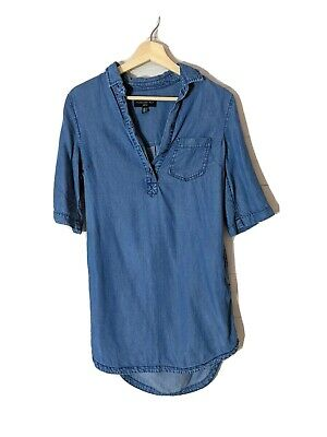 AU30 • Buy FOREVER NEW Size 6 Denim Chambray T Shirt Shift Dress Pockets Blue