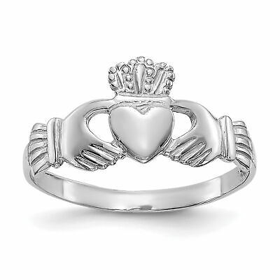 $144.75 • Buy 14k White Gold Ladies Claddagh Ring D3107
