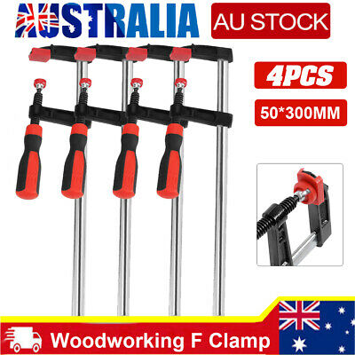 AU29.49 • Buy 4pcs Woodworking F Clamps Bar Clips Quick Slide Tool 50*300mm Heavy Duty Steel