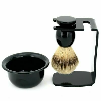 Mens Shaving Set Badger Hair Brush Soap Mugs Bowl Acrylic Razor Stand Holder Kit • 9.99£
