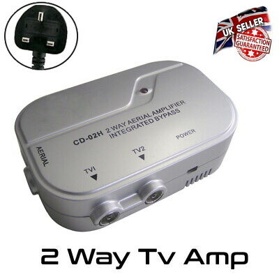 £19.99 • Buy TV Amp Signal Booster 2 Way Distribution Amplifier Booster With 4G Filter