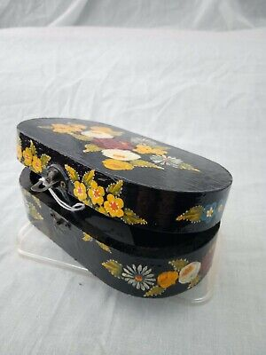 £7 • Buy Black Roses And Castles Hand Painted Oval Trinket Box Barge Ware #02