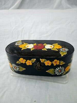 £7 • Buy Black Roses And Castles Hand Painted Oval Trinket Box Barge Ware #03