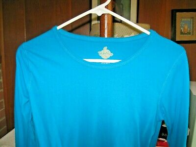 $5 • Buy Peaches Women's Long-Sleeve Scrub Top M Solid Turquoise 100% Cotton NWOT