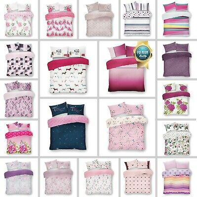 £14.99 • Buy Luxury Pink Printed Duvet Cover Set Quilt Cover Bedding Single Double King Size