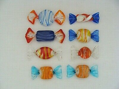 $19.99 • Buy Lot Of 8 Art Glass Candies 'Wrapped' Candy Pieces