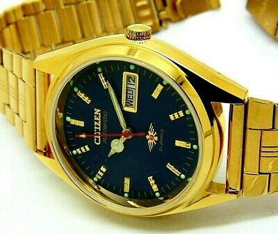 $ CDN38.05 • Buy Citizen Automatic Men Gold Plated Blue Dial Vintage 21 Jewels Watch Run Order