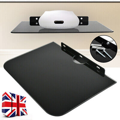 £10.99 • Buy 1 Tier Black Glass Floating Wall Mount Shelf DVD Player Sky Box PS4 Game Console