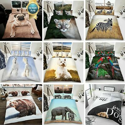 3D Duvet Cover Set Animal Bedding Quilt With Pillowcase Single Double King Sizes • 15.99£