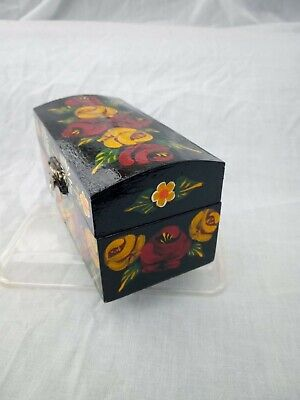 £8 • Buy Black Roses And Castles Hand Painted Trinket Chest Domed Lid Barge Ware #01