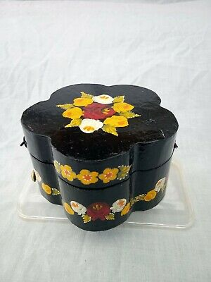 £7 • Buy Black Roses And Castles Hand Painted Round Trinket Box With Lid Barge Ware #01