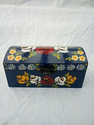 £8 • Buy Blue Roses And Castles Hand Painted Trinket Chest Domed Lid Barge Ware #01