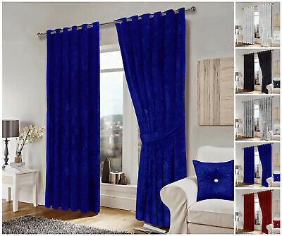Luxury Crushed Velvet Curtains Ready Made Eyelet Ring Top Lined Curtain Pair • 59.99£