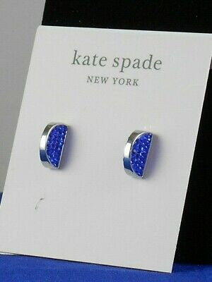 $ CDN52.83 • Buy Kate Spade Silver SLICED SCALLOPS Sapphire Pave' Half Circle Stud Earrings $48