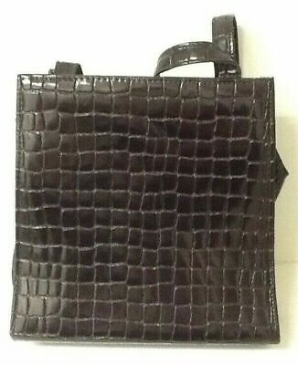 Ladies Black Croc Style Vinyl Faux Leather Handbag - Excellent Condition • 10.99£