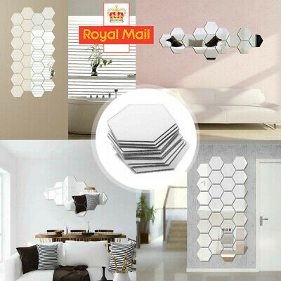 36 Acrylic Mirror Effect Tile Wall Sticker Room Decor Stick Art Bathroom DIY V • 2.98£