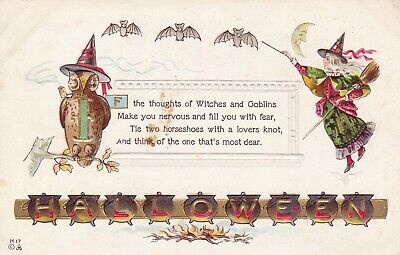 $ CDN23.08 • Buy VINTAGE~NASH~HALLOWEEN POSTCARD~WITCH W/BROOM~BATS~OWL~WITHCHES BREW~UNPOSTED