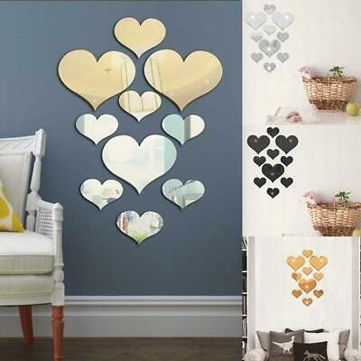 10Pcs Fashion Love Heart Acrylic Mirrors Wall Stickers Home Bedroom Decals Decor • 2.72£