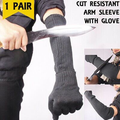 Cut/Scratch/Heat/Slash Resistant Arm Sleeves With Gloves Safety Protection Kit • 11.99£