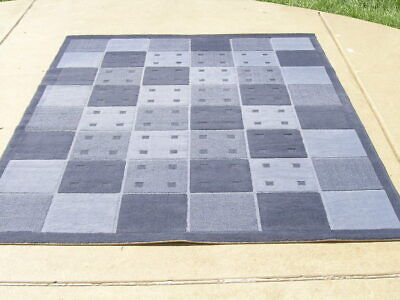 £141.96 • Buy Vintage Calvin Klein 100% Viscose Blue Shades Squares Area Rug 67x91 Inches LN