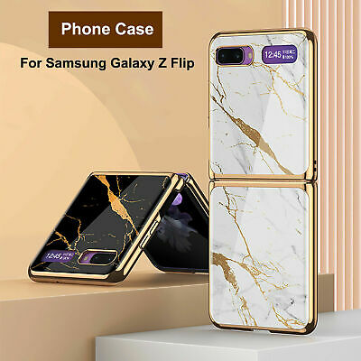 AU24.55 • Buy For Samsung Galaxy Z Flip, Marble Tempered Glass Hard Plating Frame Cover Case
