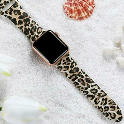 AU11.99 • Buy For Apple Watch Band Series 5 4 3 2 1 Leopard Print Silicone Sports Watch Band