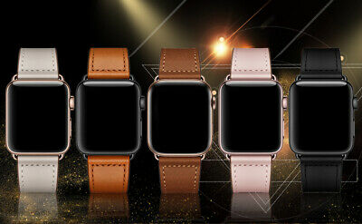 AU14.99 • Buy Genuine Leather Watch Band Strap For Apple Watch IWatch Series 6 5 4 3 2 1 38-44