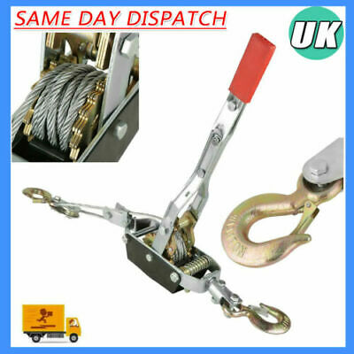 £25.42 • Buy Heavy Duty 4TON 2 HOOK STEEL CABLE RATCHET PULLER HAND WINCH TURFER EQUIPMENT