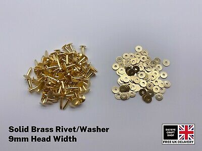 £3.99 • Buy SOLID BRASS 9mm HOSE SADDLERS RIVETS/WASHER/SETTING TOOLS LEATHER CRAFTS